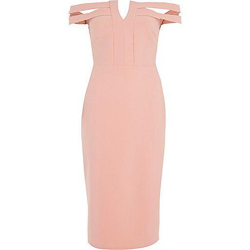 Light pink bardot bodycon midi dress