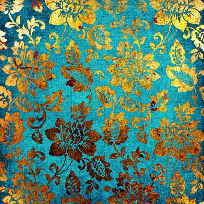 Golden Blue Vintage Background Wall Mural Pixers We Live To Change Vintage Floral Backgrounds Background Vintage Turquoise Wallpaper