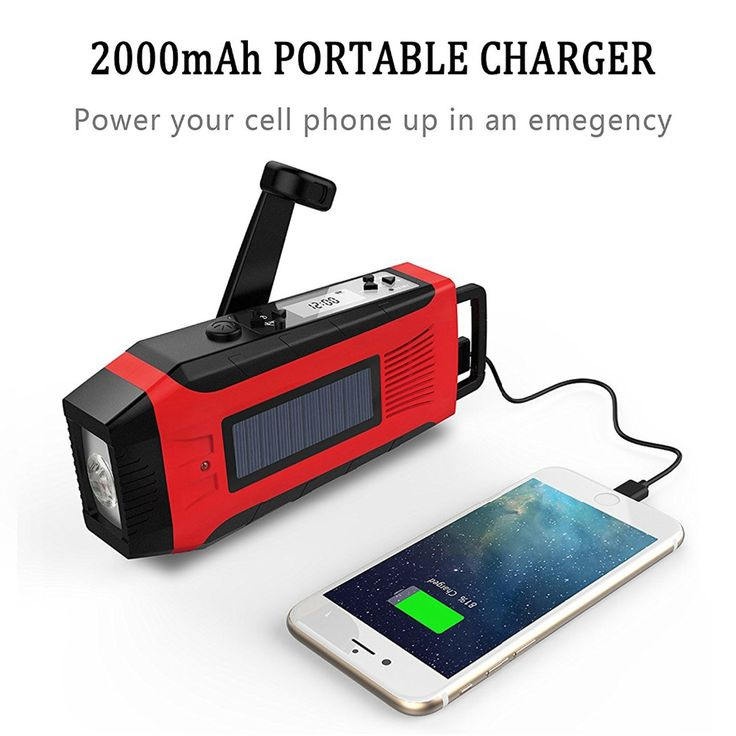 Hand Crank Generator USB Phone Charger 2000mAh Solar Radio With Super Flashlight #Affiliate