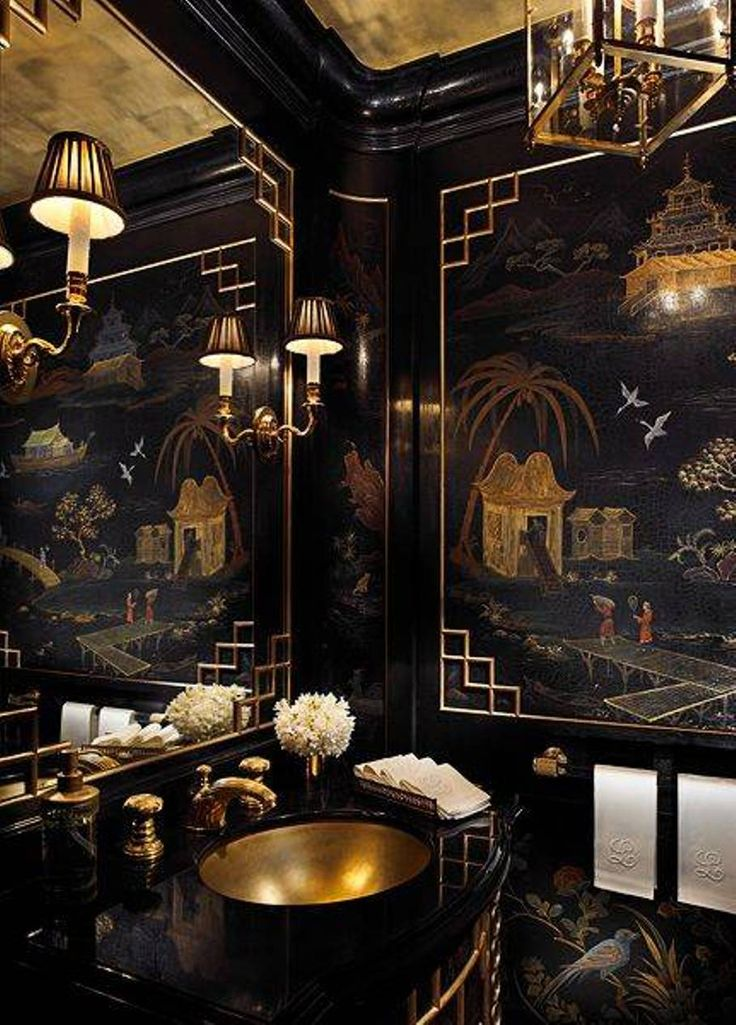 A (Very) Blah Powder Room Transforms Into A Jewel Box. Gold BathroomBathroom  IdeasAsian ...