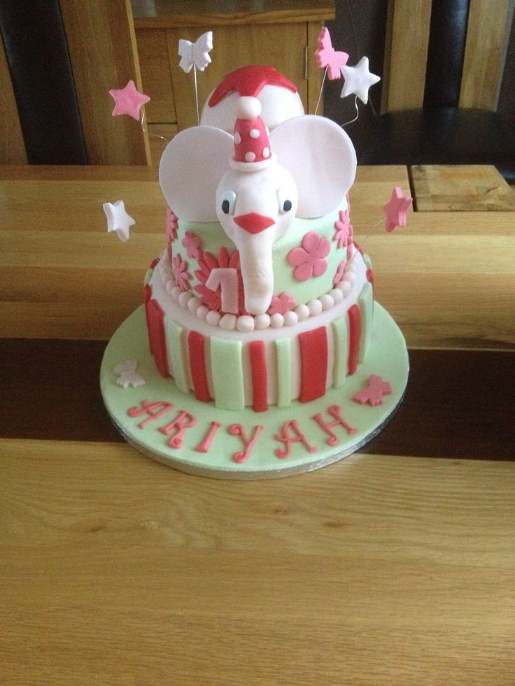 Elephant cake. Chocolate sponge and buttercream with a cereal treat elephant for a 1st birthday.