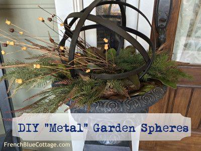 diy metal garden spheres - frenchbluecottage.com