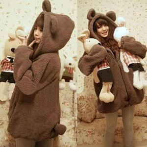bear zip up hoodie cozy outfit asian kawaii fashion^___^ Whaaaaat?! Totally want this for skiing.......: