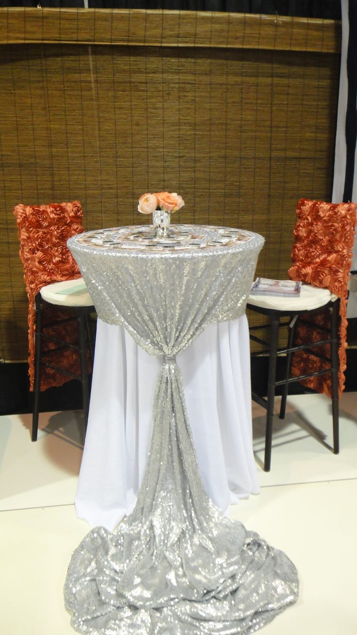 Fun Tall Cocktail With Custom Silver Sequin Linen Cake Table