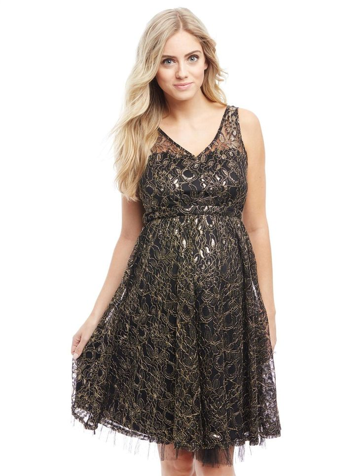Metallic Lace Maternity Dress, Black/Gold