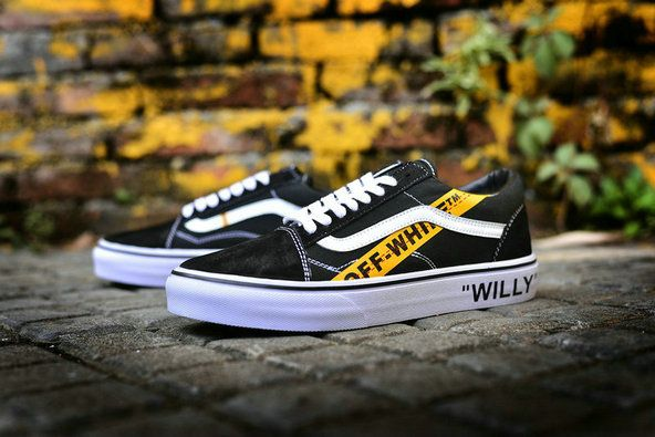 03b123afd9 OFF WHITE x Vans Old Skool Willy Black Yellow Skateboard Shoe  Vans ...