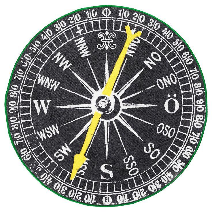 Amazon.com: Ikea Compass Black White Round Throw Area Rug Mat Low Pile Nautical: Kitchen & Dining