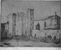 """Château du Fossat au XVIIe siècle, à Aiguillon. - """"En juillet 1346, alors que les Français assiégeaient Aiguillon, le roi d'Angleterre, débarqué en Normandie menaçait la capitale à la tête de 40000 hommes, Philippe de Valois rassemblait des forces considérables pour repousser cette invasion. Dans tout le royaume les troupes féodales et communales accouraient. Le sire de Parthenay se rendit à Poitiers avec 6 chevaliers et 10 écuyers à la solde du roi pour assister à la montre du 18 aout 1346"""""""