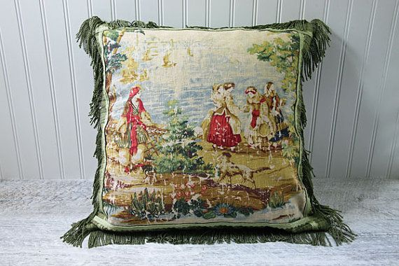 French Country Toile Pillow Cover Cushion Case Red