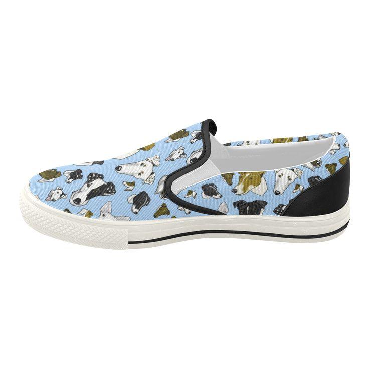 Smooth fox Terrier Lt Blue Women's Slip-on Canvas Shoes (Model 019)