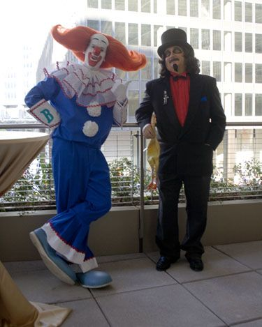 """Bozo the Clown"" and Rich ""Svengoolie"" Koz on the museum terrace that overlooks State Street"