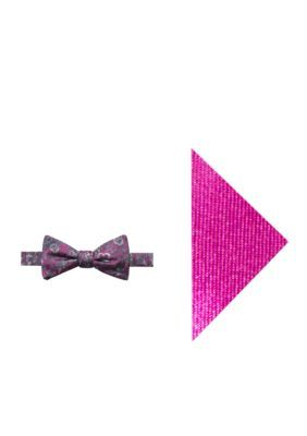 Madison Men's Lilly Floral Bow Tie And Pocket Square Set - Magenta - Regular - 58 In.