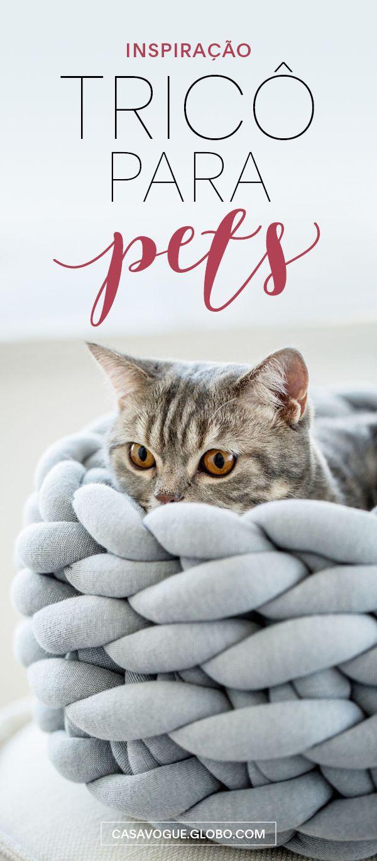 Modelos lindas de camas para animais de estimação em tricô