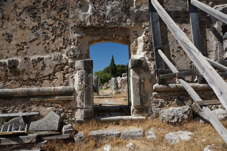 The ruins of a Frankish castle: Wind-stranded in Sami, the pretty port of  western Kefalonia  - Babis the water taxi captain who looks like  a pirate out of Tintin, has said we have to wait for the sun to set and waves to subside... -- Click through to read the rest of our Blog post! -- #FiveStarGreece #LuxuryVillas #HolidayMatchmakers