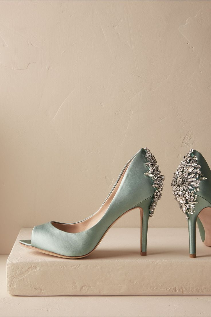 crystallized satin shoes | Bella Crystal Heels from BHLDN