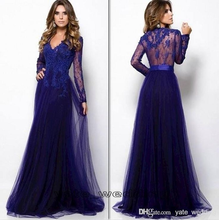 Wholesale Prom Dresses - Buy 2015 New Style Prom Dresses With V Neck Long Sleeves Lace Tulle Full Length Dark Royal Blue Evening Gowns See Through Back Long Party Dress, $101.04   DHgate.com
