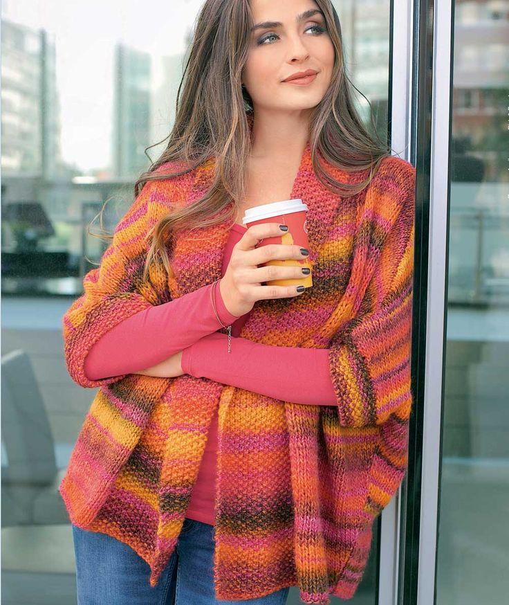 Описание вязания на спицах запахивающегося жакета из журнала «Verena. Модное вязание» №5/2014