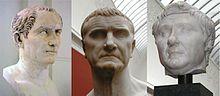 The first triumvirate: Gaio Giulio Cesare, Marco Licinio Crasso, Gneo Pompeo Magno (60 b.c.)
