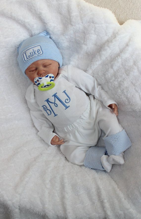 Baby Boy Coming Home from the Hospital. Monogram Bodysuit. Pants with Seersucker cuff. Coming Home from Hospital. Newborn Baby Boy Outfit