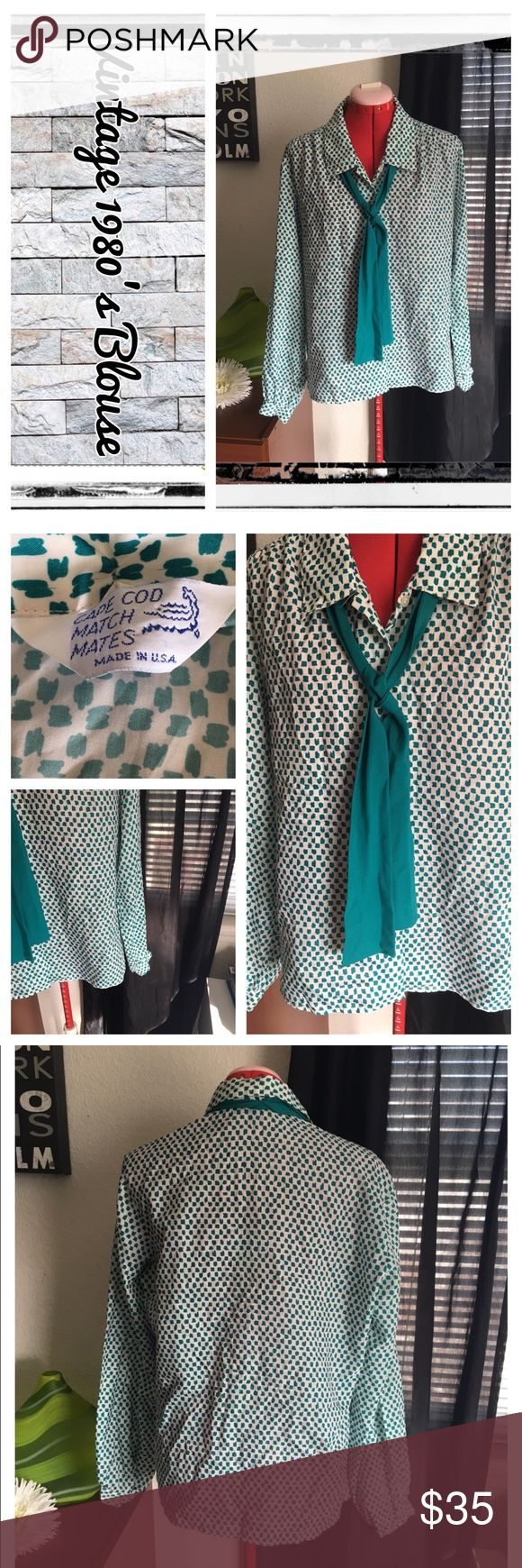 Vintage 1980's button down blouse w/neck tie No flaws, steam cleaned. EUC.                                 REASONABLE OFFERS ONLY- -Smoke and pet free - I try to stay around 75% off MSRP; please keep this in mind when making offers.  -I do not model anything; everything looks different on everyone and I don't wasn't too Jade that. I will provide measurements if needed.  -NO HOLDS, NO TRADES, POSH RULES ONLY! Vintage Tops Button Down Shirts
