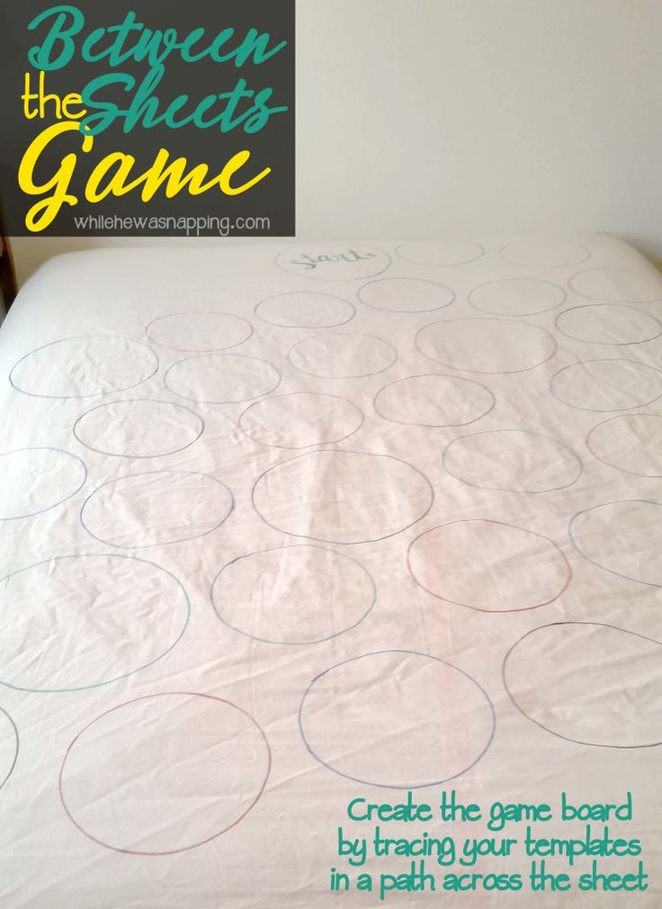 Between the Sheets DIY Bedroom Game! Create your own game board on a fitted sheet and heat things up a bit! Perfect for date night, birthdays, anniversaries and Valentine's Day is coming quick. Give your sweetie what they REALLY want...