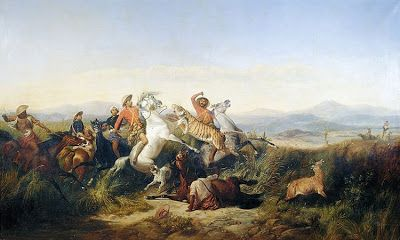 """""""Hunt"""" by Raden Saleh Syarif Bustaman (ca. 1811-1880). This paint is a collection of Mesdag Museum in The Hague, Netherlands."""