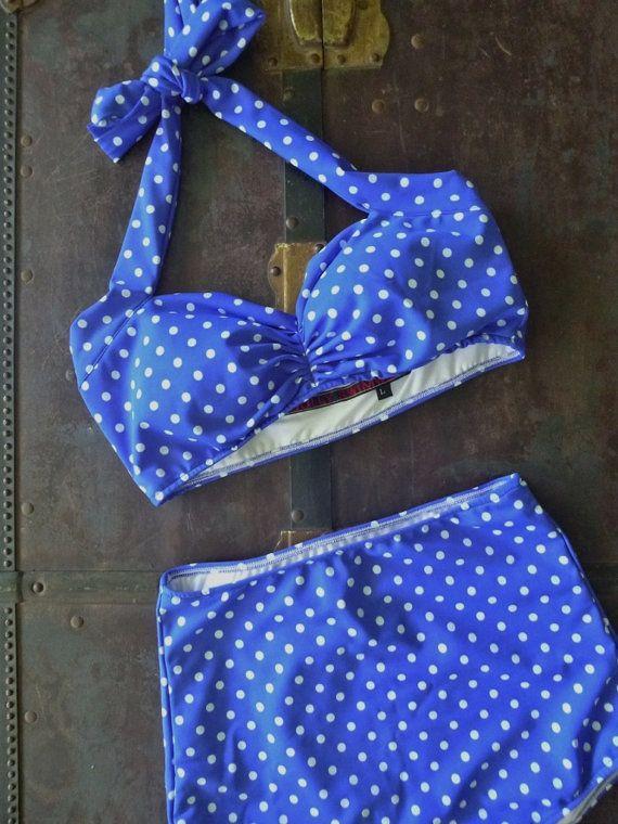 Blue & White polka dot Retro Pin up bikini Two piece swimsuit