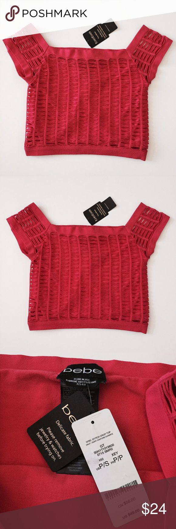 Bebe cut out crop top red small Brand new with tags, bebe strawberry red cut out crop top size small, also fits size XS. Stretchy and comfortable material. Original price $49! (Listed for less on Ⓜ️) bebe Tops Crop Tops