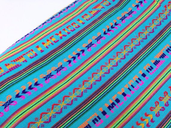 Blue Aztec Fabric -  Mexican Tribal Pattern -  Cambaya - One Yard Turquoise by the Yard