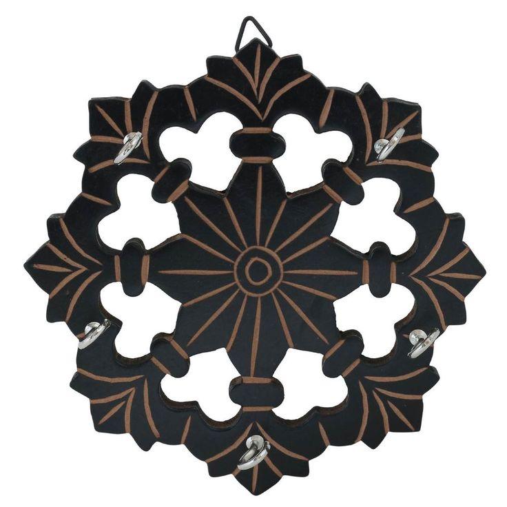 Wooden Key Holder Flower Shaped 6 inch