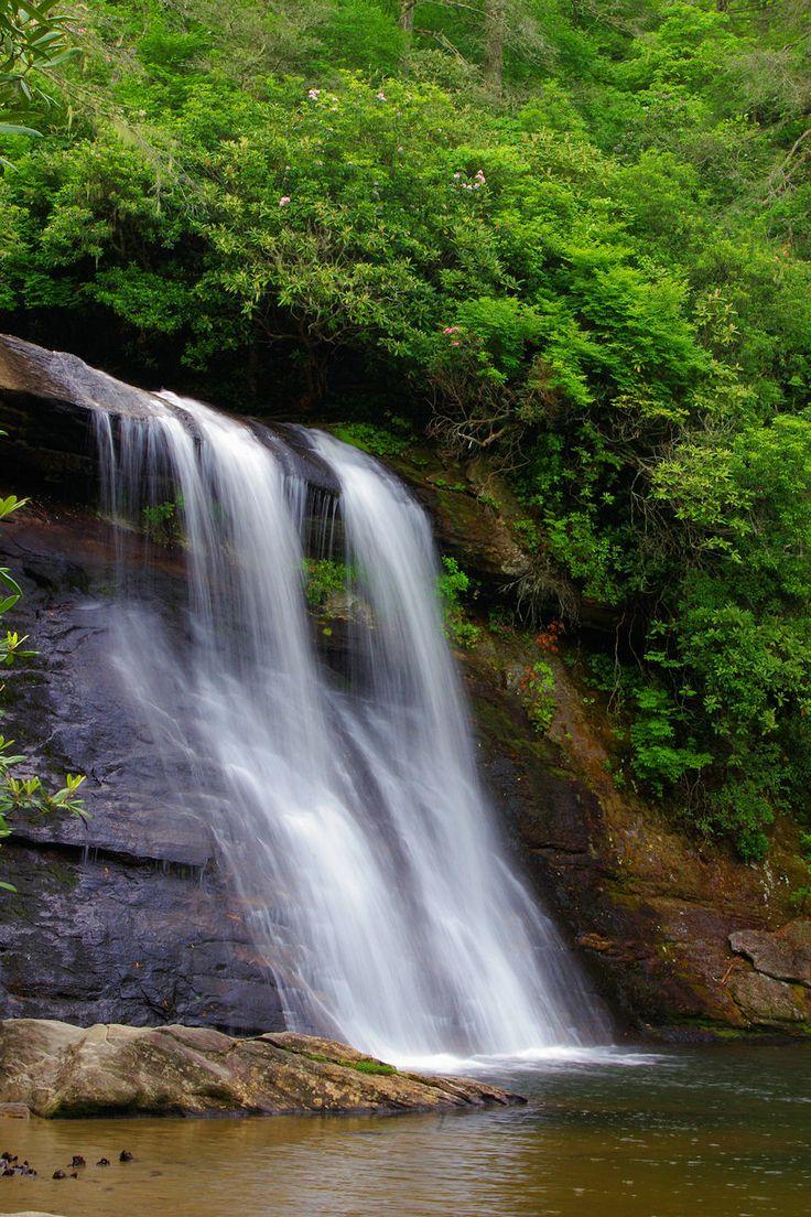 Silver Run Falls in Nantahala National Forest near Cashiers NC