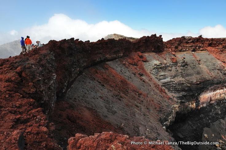 Mt Ngauruhoe's crater in summer