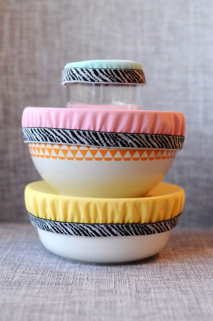 {DIY} Tuto Zéro déchet. Fabriquer soi-même des couvercles alimentaires élastiques lavables pour bols en tissu imperméable, lavables et réutilisables.