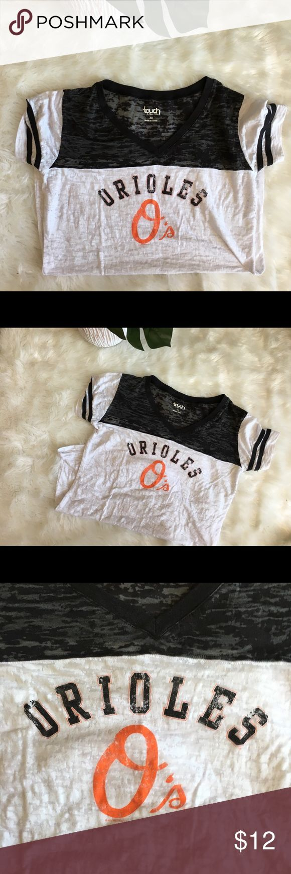 Baltimore Orioles Baseball Retro Raglan Tee Shirt Excellent condition. Super clean ! Marked a 2x but runs super small. Would best fit a large. Longer tunic length. Sheer. Tops Tees - Short Sleeve