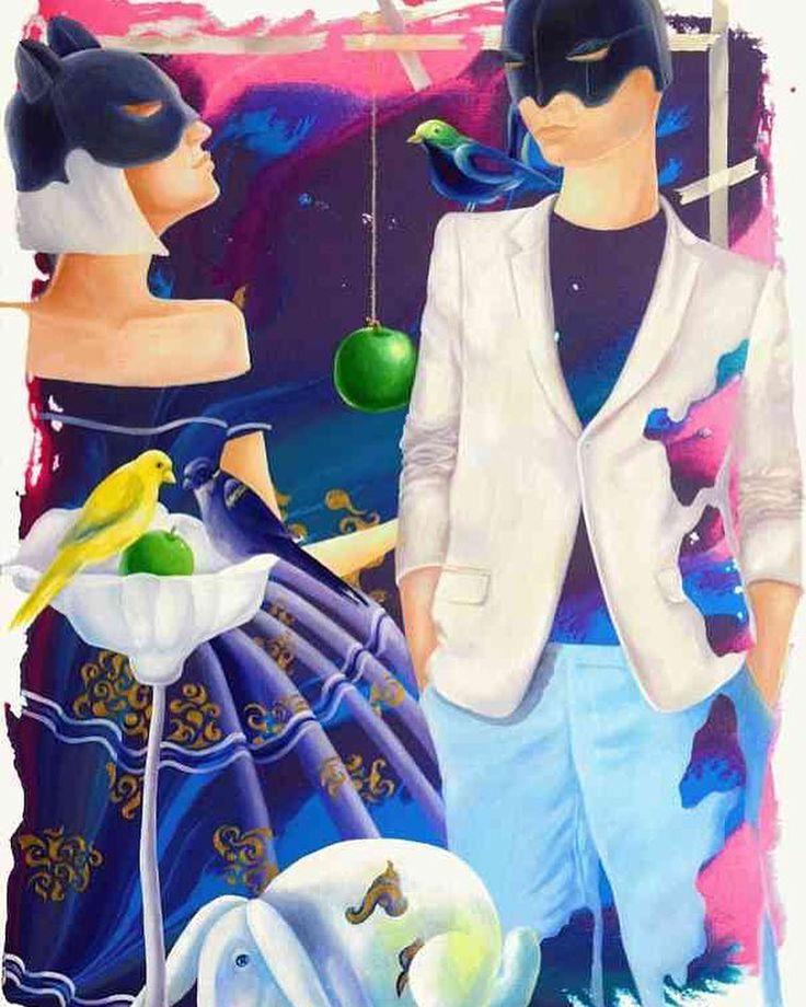 'Adam and Eve II' - #Yelena - http://ift.tt/2h35Kqf ... #art #propertstyling #interiorstyling #decorative #interiodesign #bondi #sydney #melbourne #adelaide #perth #canberra #livingroom #modernart #gallery #blue #illustration #artforsale #couple #brisbane #figure #artista  #animals