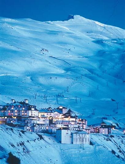 SPAIN / ANDALUSIA / Places, towns and villages of Andalusia - Sierra Nevada, Granada. The Sierra Nevada Ski Station is a ski resort in the Sierra Nevada in the province of Granada in southeastern Spain. The ski area is on the northwestern slopes of Veleta, the third highest peak in peninsular Spain and the most southerly ski resort of Europe.