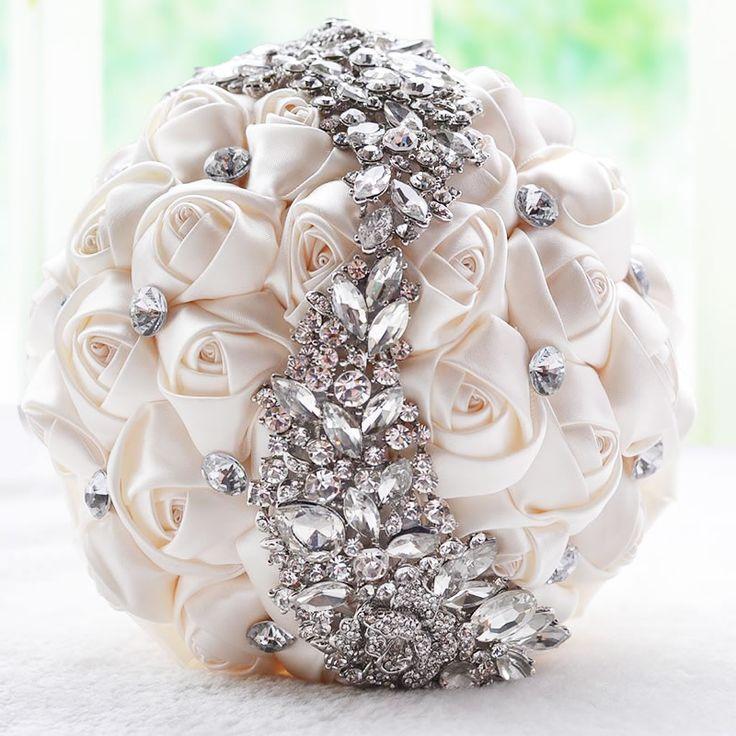 رائع كريستال بروش باقة الزفاف اكسسوارات الزفاف باقة الأحمر الاصطناعي زهور الزفاف باقات الزفاف العروسة FE8