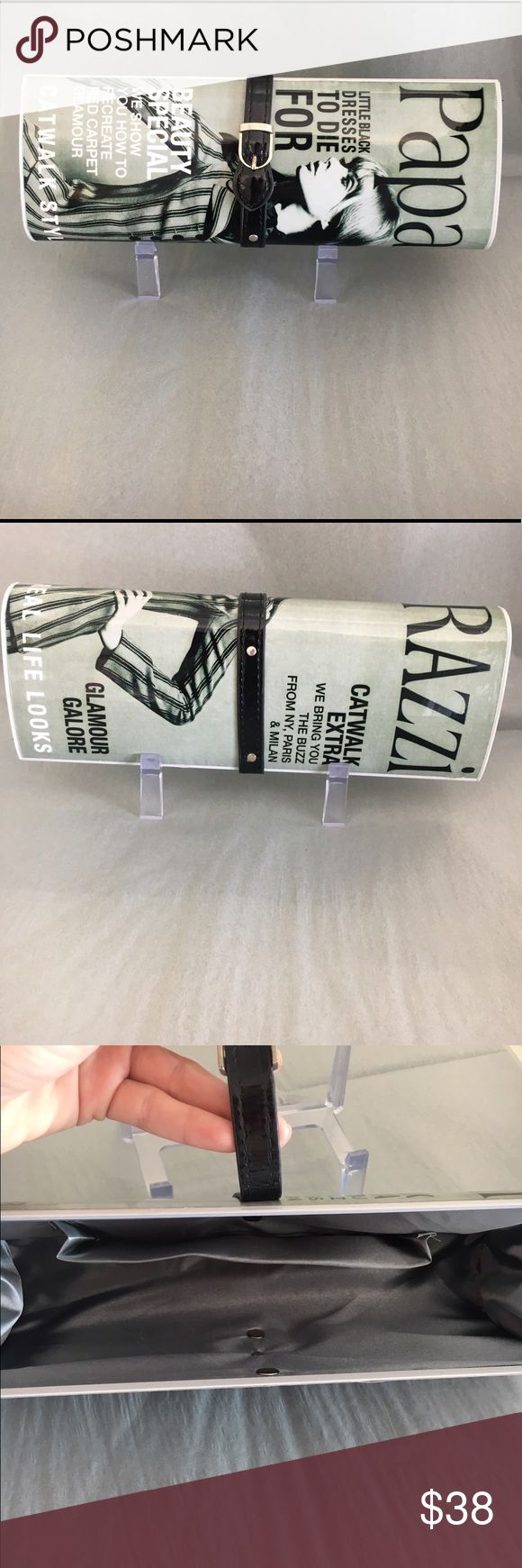 Black and white magazine clutch!!! Only worn once!! So adorable! Great condition! Makes any outfit look classy! Super fun clutch  Bags Clutches & Wristlets