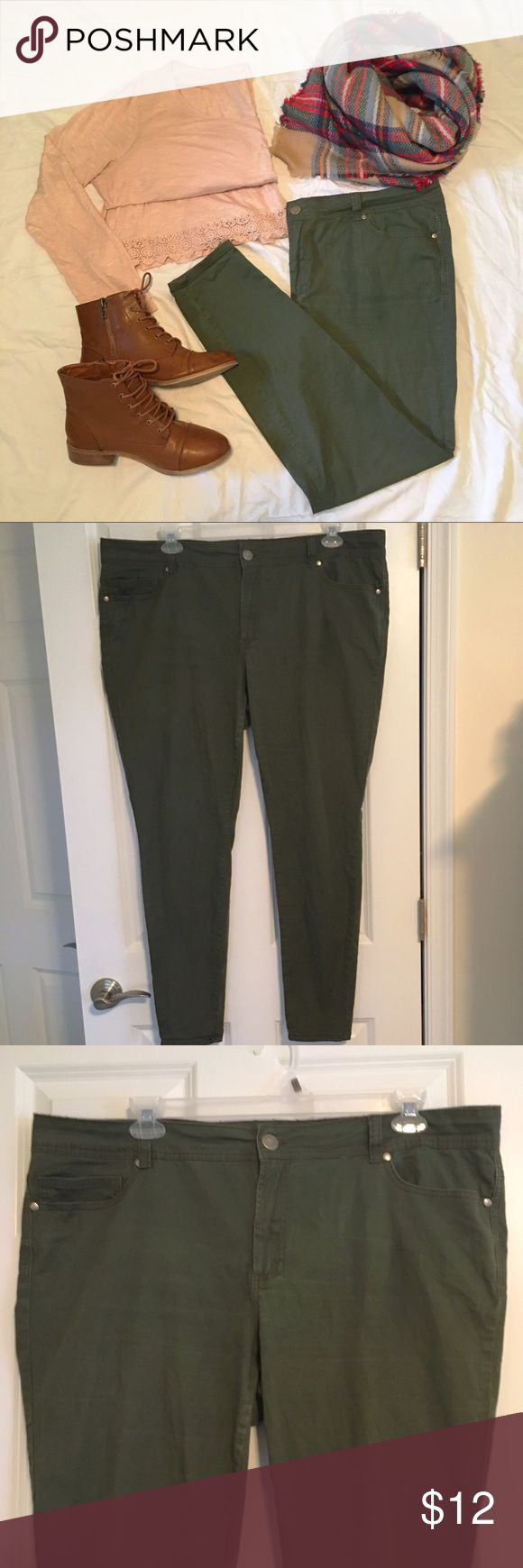 Plus Olive Green Skinny Jeans Plus size olive green skinny jeans. Great for adding a splash of color to different kinds of outfits! Good used condition, some wear on inner thighs (as shown in picture 5) and minimal fraying of thread around the waistband (as shown in picture 6). Forever 21 Jeans Skinny