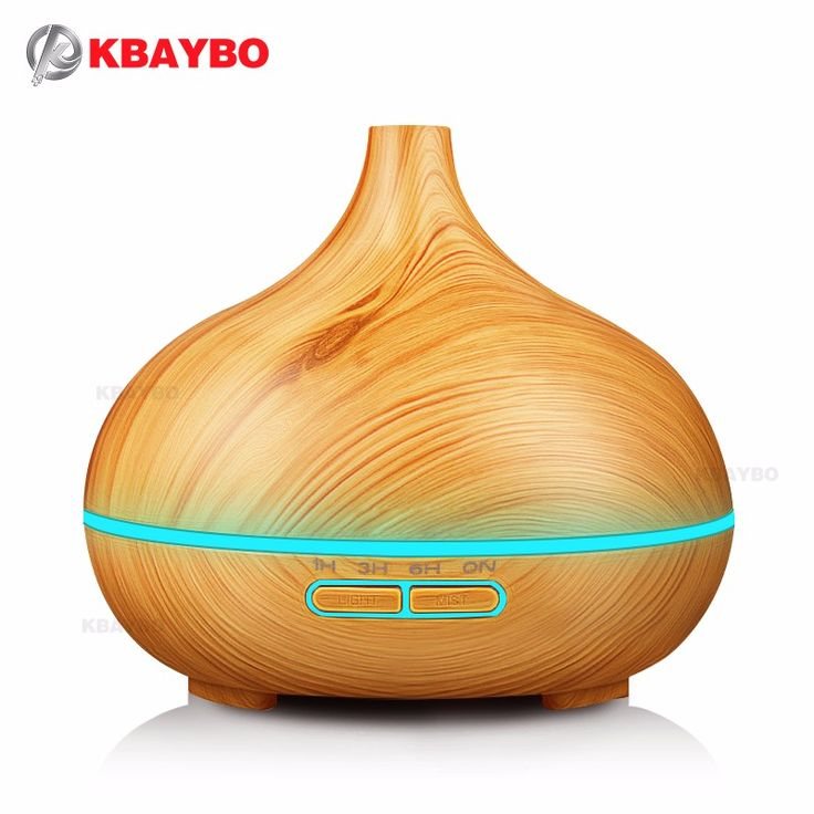KBAYBO 300ml Air Humidifier Essential Oil Diffuser wood grain Aromatherapy diffusers Aroma Mist Maker 24v led light for Home