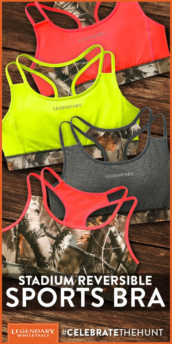 Our Ladies' Stadium Reversible Sports Bra is like getting two sports bras in one! Fully reversible to Big Game Camo® with matching accents and reflective logos. This reversible solid-to-camo sports bra is made from a super comfortable poly/spandex blend with a moisture management finish to help keep you comfortable through any workout!