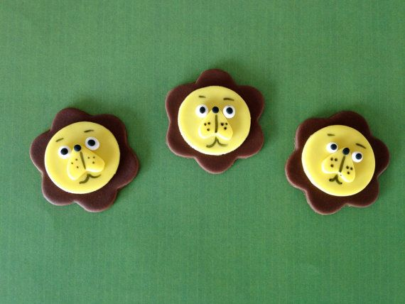 Edible Fondant Lion Cupcake Toppers  Set of by SweetIdeaCreations, $14.95