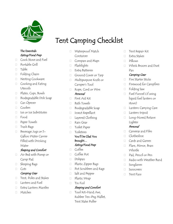 It's just an image of Impertinent Tent Camping Checklist Printable