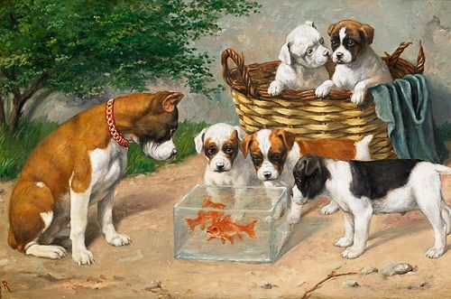Carl Reichert - English bulldogs with goldfish bowl