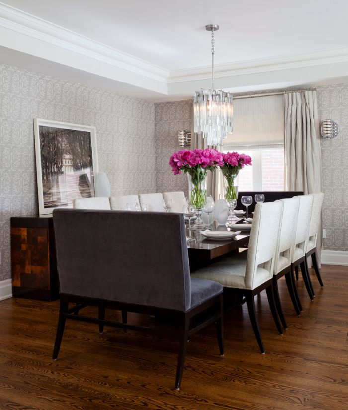 Transitional-Dining-Room-with-a-low-wooden-dining-table-for-white-wooden-seater-chairs-idea-with-two-grey-benches