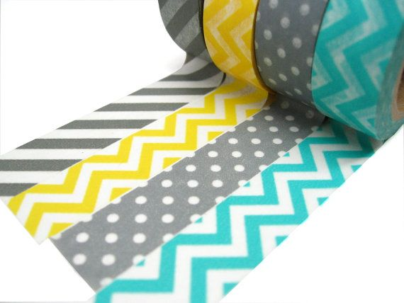 Gray Stripes, Yellow Chevron, Aqua Chevron, Gray Polka Dots Washi Tape - Choose Your Favorite Roll