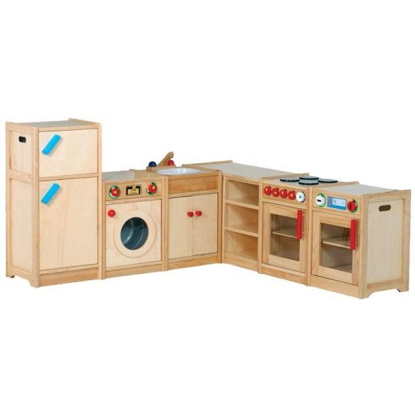 Een van onze pronkstukken in de webshop, de Santoys speelkeuken met maar liefst 6 verschillende onderdelen. De keuken is gemaakt van rubberwood en gefineerde meubelplaat.