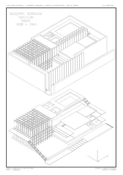 Axonometric image of Danteum with and without walls.