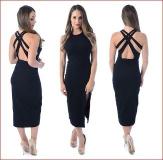 +Sexy+black+dress+with+split+in+the+front+has+a+crossover+back+and+is+made+from+stretchy+comfortable+fabric+++One+only+size+10+++