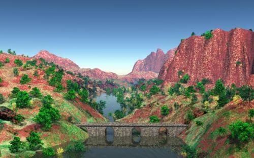 Paisaje de rio con puente de piedras
